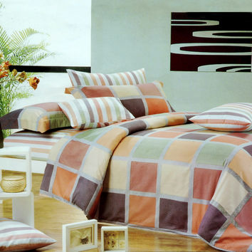 Modern Plaid Luxury 4PC Comforter Set Combo 300GSM in Twin Size