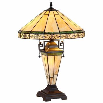 "Belle, Tiffany-Style 3 Light Mission Double Lit Table Lamp 16"" Shade"