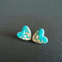 Tiffany Heart Stud Earrings  Polymer Clay and by LaLiLaJewelry
