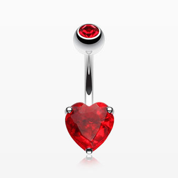 Classic Heart Sparkle Belly RIng