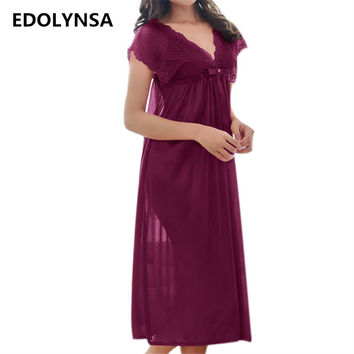 New Arrivals Lace Nightgowns Sleepshirts Solid Sleepwear Sexy Nightgown Female Soft Home Dress Vintage Long Nightgown #H162