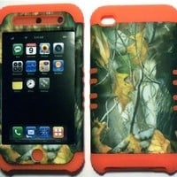 Camo Mossy Oak on Orange Silicone Skin for Apple ipod Touch iTouch 4G 4 Hybrid 2 in 1 Rubber Cover Hard Case