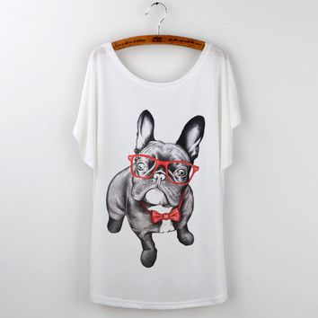 French Bulldog with Eyeglasses Loose Flowy T-Shirts - Women's Top Tee