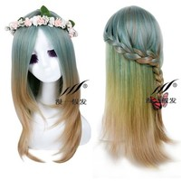2016 new lolita wig full curly wave hair wigs cosplay party green mix long wig