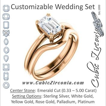 CZ Wedding Set, featuring The Venusia engagement ring (Customizable Emerald Cut Solitaire with Thin Band)