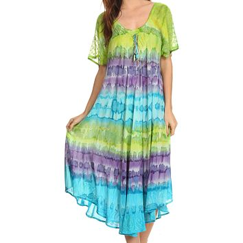 Sakkas Sula Long Laced Cotton Tie-Dye Wide Neck Embroidered Boho Sundress Cover Up