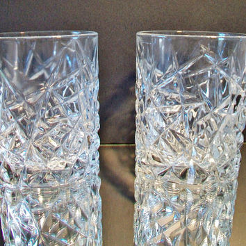 Crystal Low Ball Cut Glass Old Fashioned Cocktail Holiday Barware Dining Home Bar