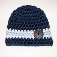 Cute as a Button Crochet Baby Hat Available in blue, pink, or custom color. Choose Newborn, 0-3 Month, or 3-6 Month