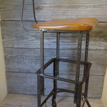 "Vintage Industrial Adjustable Stool ""Sit-Rite"" Edward L. Koenig & Co Chicago IL"