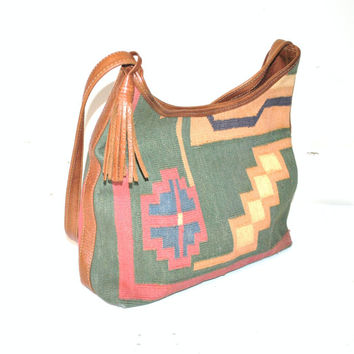 large KILIM + leather TOTE bag vintage 80s 1980s boho TOOLED leather Turkish woven carpet bag