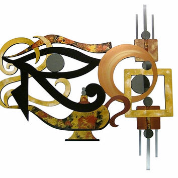 "Unique Contemporary Abstract Art ""Eye of Horus"" Wall Sculpture Wood, Mirror, Metal 38x37 by Diva Art69"