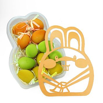 Set of 12 Orange Green and Yellow Spring Easter Egg Ornaments 2.5""