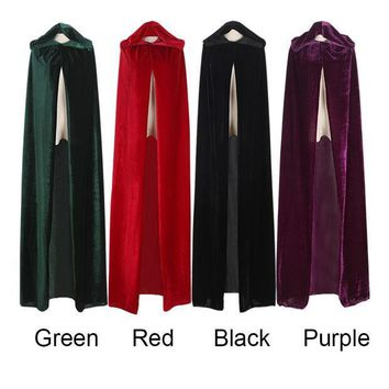 ICIKHY9 Free Shipping Adult Witch Long Purple Green Red Black Halloween Cloaks Hood and Capes Halloween Costumes for Women Men