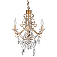 4 Light Antique Crystal Plug-In Chandelier (Gold)