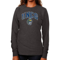 UNCG Spartans Ladies Distressed Secondary Long Sleeve Slim Fit T-Shirt - Charcoal