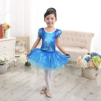 Blue Girls Kids Short Sleeve Gymnastics Crystal Shoes Dance Ballet Leotard Tutu Dress