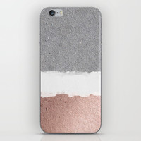 Concrete and rose gold iPhone Skin by Printapix
