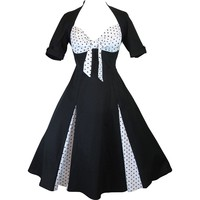 Skelapparel 50's Black and White Polka Dot Party Swing Dress