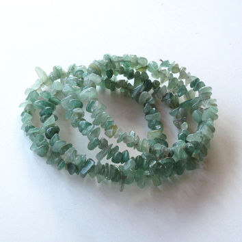 Stacking beach bracelets in seafoam aventurine -  stone wrap bracelet - sea glass green, summer beach