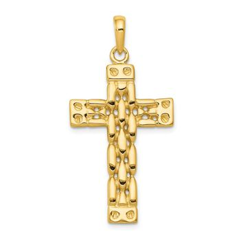 14K Yellow Gold Polished Panther Style Cross Pendant