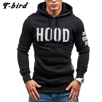 T-bird 2017 Hoodies Brand Men Chest Letter Printing Sweatshirt Male Hoody Hip Hop Autumn Winter Hoodie Mens Pullover Cotton XXXL