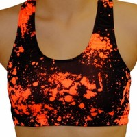 Neon Orange Paint Splatter Printed Athletic Sports Bra