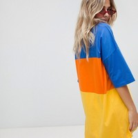 The Ragged Priest oversize t-shirt dress in color block at asos.com