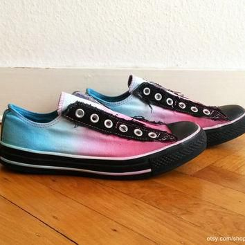 Multi-coloured ombre Converse, ice blue & pink, slip-on sneakers, upcycled vintage, di