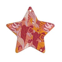 "Akwaflorell ""Fishes Here, Fishes There 3"" Pink Orange Ceramic Star Ornament"