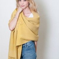 Marcela Plant dyed shawl, Yellow Dyed Wool wrap, Organic handwoven scarf, Floral Marcela plant by Texturable