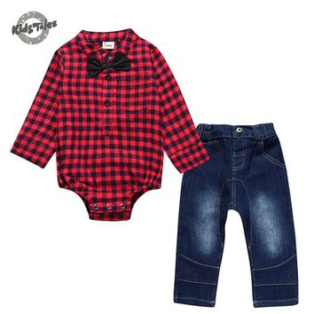 Kids Tales Fashion Newborn single breasted rompers +jeans Toddle Baby boy Gift Newborn baby clothes full Sleeve Baby boy Clothes