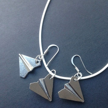 Paper Plane Necklace Earrings Pendants Charms inspired by One Direction Harry Styles Taylor Swift Origami Necklace Paper Planes