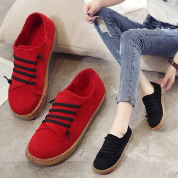 Faux Suede Women Flat Shoes Solid Casual Shoes Women 2018 New Women Loafers Slip On Autumn Female Shoes Fashion Ladies Shoes