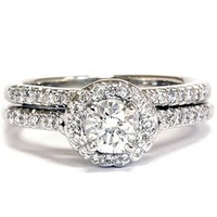3/4ct Diamond Halo Wedding Ring Set 14K White Gold