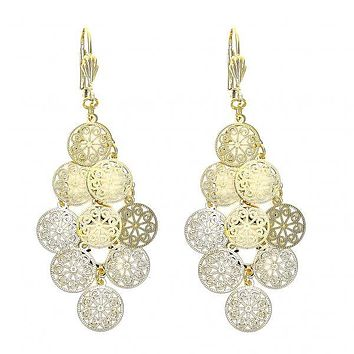 Gold Layered 080.006 Chandelier Earring, Ball Design, Polished Finish, Two Tone
