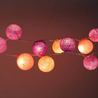 Purple Tone Cotton Ball String Light  Fairy Light Bedroom or Party