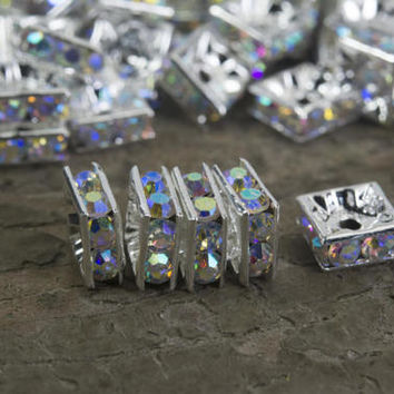 rainbow crystal silver spacer beads - square brass spacer with rhinestones - blingbling beads supplies - jewelry craft beads - 4-10mm-15inch