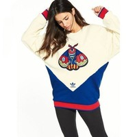 Adidas Women Fashion insect Print Clover Embroidery Top Sweater Pullover Sweatshirt G-A-ADNKPFD-XBW