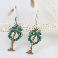 Sterling silver tropical pam tree dangle drop earrings hand enameled green brown. Florida, Islands, cruise, beach earrings