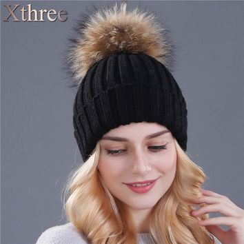 ICIKJG2 Xthree mink and fox fur ball cap pom poms winter hat for women girl 's hat knitted  beanies cap brand new thick female cap