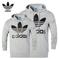 """Adidas"" men and women's stylish pullover sweatshirt and sweatshirt Grey"