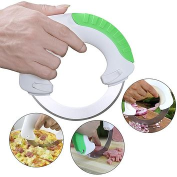Stainless Steel Circular Rolling Knife - Cuts Vegetables, Meats, Pizza, etc