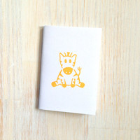 Small Notebook: Zebra, For Him, For Her, Cute, Yellow, Baby, White, Hand Carved, Kids, Jotter, Fun, Small Notebook, Stamped, Unique, WH15y