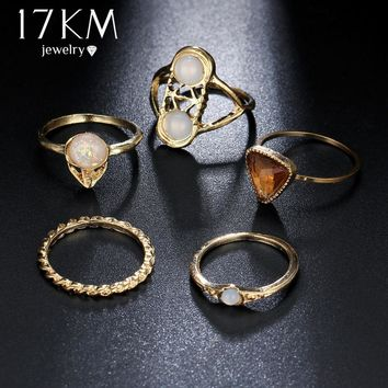 17KM Hollow Out Triangle Opal Stone Crystal Midi Ring Set Vintage Gold Color Knuckle Rings Fashion Boho Jewelry 5PCS/Lot
