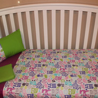 Tri-Color Owl Crib Bedding Set