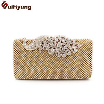 New Fashion Design Women Handbag Bling Full Diamond Hard Box Day Clutches With Beautiful Peacock Hasp Ladies Party Evening Bag