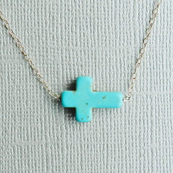 Mother's Day Sale Turquoise Sideways  Cross Necklace by RHjewels
