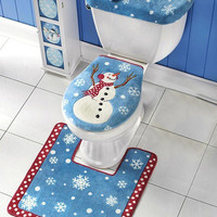 Christmas 3pc Snowman Decorative Bathroom Toilet Seat Cover, Rug Set