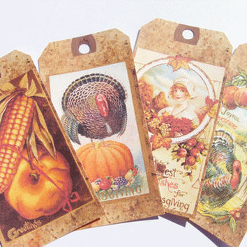 Thanksgiving Tags - Set Of 12 - Vintage Thanksgiving - Gift Tags - Holiday Tags - Party Favors  - Harvest Tags - Ornament Tags - Treat Tags