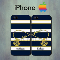 Nautical Best Friends Blue Stripe iPhone case  by thecasefactory
